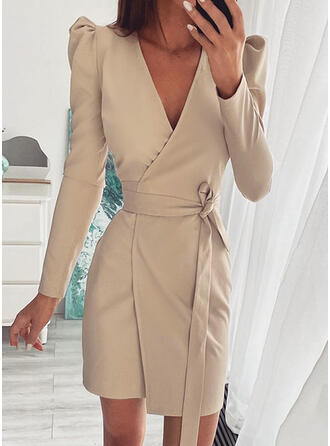 Solid Mâneci Lungi Puff manşonuna Manşon Deasupra Genunchiului gündelik Wrap Elbiseler