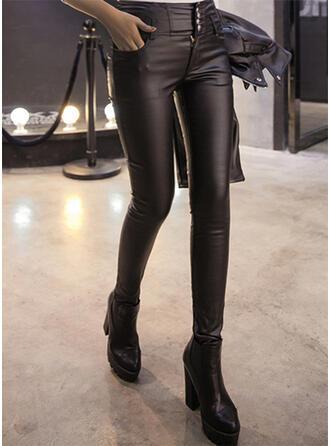 Solid Sexy Lær Årgang leggings