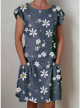 Estampado/Floral Manga Curta Shift Comprimento do joelho Casual Vestidos