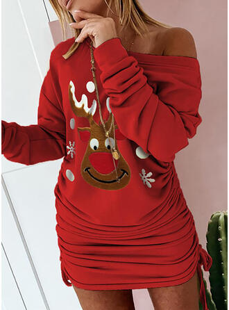 Animal Print Long Sleeves Bodycon Above Knee Christmas/Casual Sweatshirt Dresses