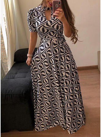 プラスサイズ 印刷 半袖 Aラインワンピース マキシ カジュアル ドレス