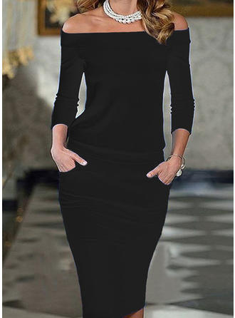 Solid 3/4 Sleeves Bodycon Knee Length Little Black/Elegant Pencil Dresses