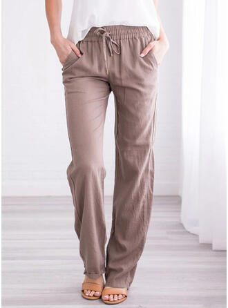 Shirred Plus Size Long Casual Pants
