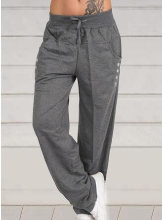 Marszczona Duży rozmiar Sznurek do ściągacza Długo Nieformalny Jednolity Spodnie