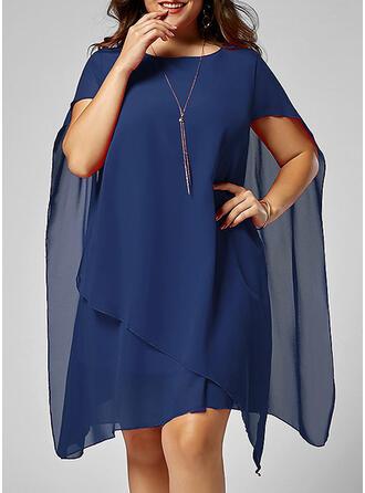 Plus velikost Pevný Krátké rukávy Šaty Shift Délka ke kolenům Elegantní Malé černé Party Šaty
