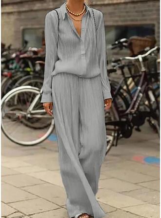 Solid Fritids Extra stor storlek Årgång blus & Tvådelade kläder uppsättning