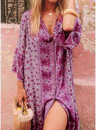 Imprimeu Mâneci la Jumătate Flare Sleeve Shift Elbiseleri Până la Genunchi Boho Tunică Elbiseler