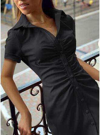 Jednolita Krótkie rękawy Pokrowiec Nad kolana Mała czarna/Casual Koszula Sukienki