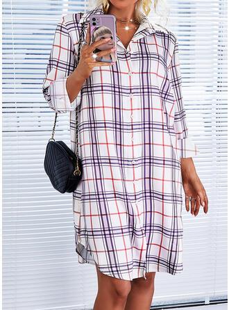 Carouri Mâneci Lungi Shift Elbiseleri Până la Genunchi gündelik Cămaşă Elbiseler
