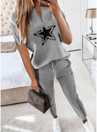 Print Plaid Casual Plus Size Blouse & Two-Piece Outfits Set