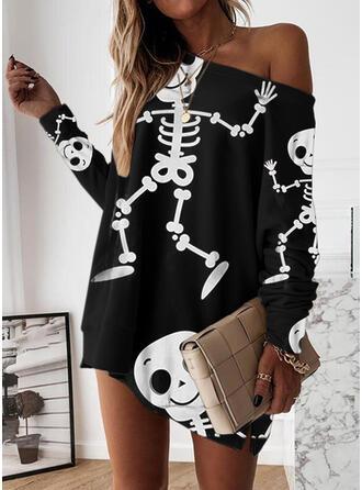Cadılar Bayramı Imprimeu Mâneci Lungi Omuz Shift Elbiseleri Deasupra Genunchiului gündelik Hanorac Elbiseler