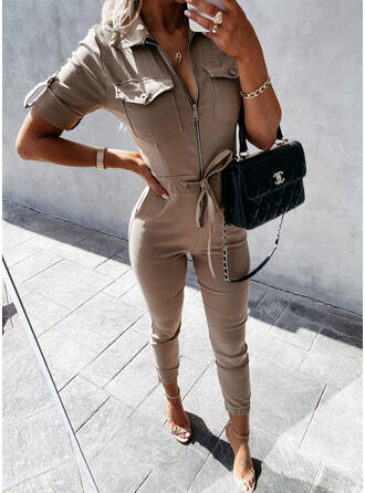 Solid Lapel Short Sleeves Casual Jumpsuit