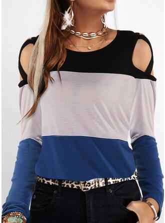 Renkli klişe Soğuk omuz Mâneci Lungi Tişörtler