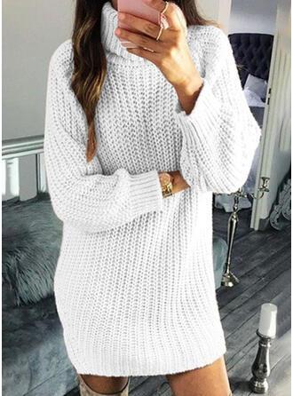 Solid Tricot Cablu Bucată tricotată Helancă Rochie pulover