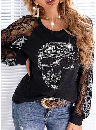 Cadılar Bayramı Imprimeu skull head Dantel Guler Rotund Mâneci Lungi gündelik Bluzlar