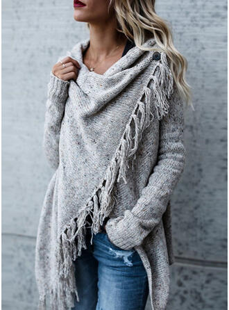 Solid Chunky knit Asymmetrical Casual Asymmetrical Cardigan