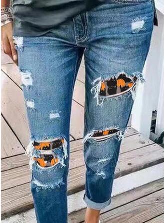 Halloween Tamanho grande Tribal Grandes Casual Costura rasgado Jeans