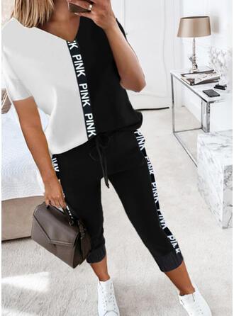 Color Block Tisk Dopis Neformální Plus velikost handsstring Kalhoty Dvoudílné outfity
