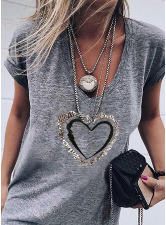 Serce Nadruk cekiny Dekolt w kształcie litery V Krótkie rękawy T-shirty