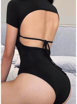 Solid Round Neck Short Sleeves Casual Sexy Romper