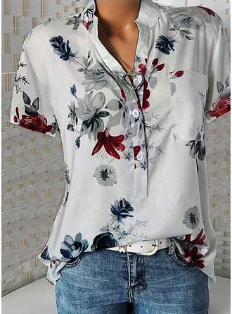 Print V-Neck Short Sleeves Button Up Casual Elegant Shirt Blouses