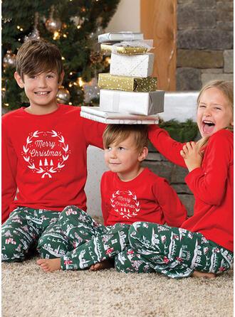 Letter Inmprimé Tenue Familiale Assortie Pyjama De Noël