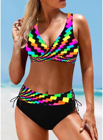 High Waist Splice color Strap V-Neck Vintage Plus Size Bikinis Swimsuits