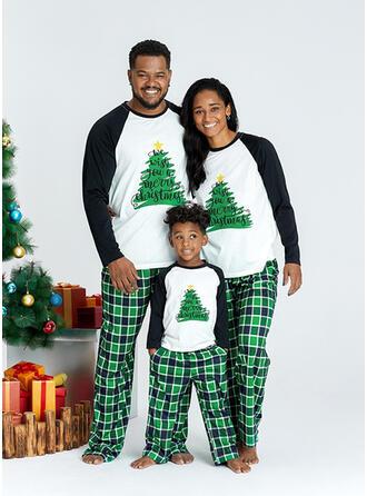 Plaid Letter Inmprimé Tenue Familiale Assortie Pyjama De Noël