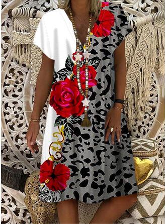 Print/Floral/Leopard Short Sleeves Shift Knee Length Casual Dresses