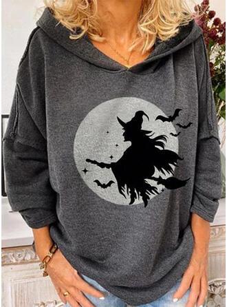 Print Halloween Långa ärmar Hoodie