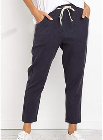 Pockets Shirred Casual Solid Pants