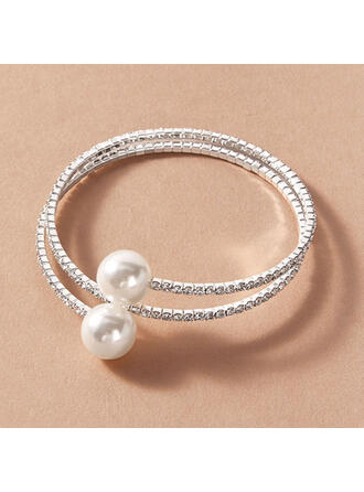 Shining Alloy Rhinestones With Rhinestones Imitation Pearls Women's Ladies' Bracelets