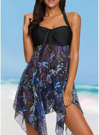 Floral Print Halter Beautiful Plus Size Swimdresses Swimsuits