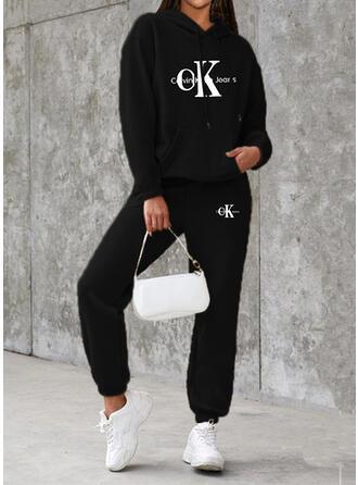 Brev Print Sportig Fritids Extra stor storlek sweatshirts & Tvådelade kläder uppsättning