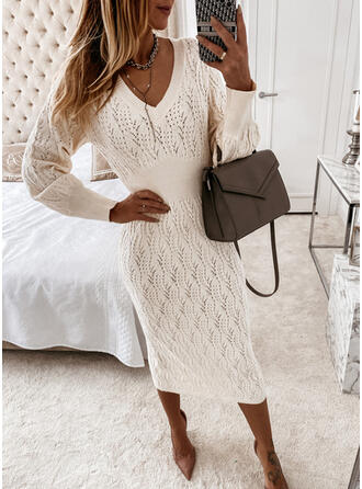 Solid Long Sleeves Bodycon Sweater Casual Midi Dresses