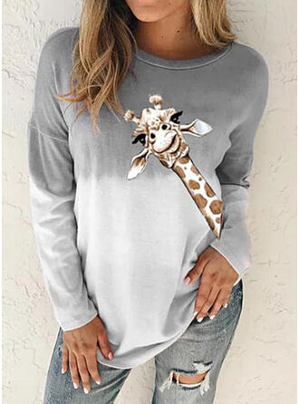 Animal Neck redonda Manga comprida Moletons