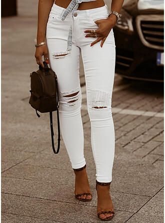 Sólido Jean Grandes Casual Sexy Tamanho positivo Bolso rasgado Jeans