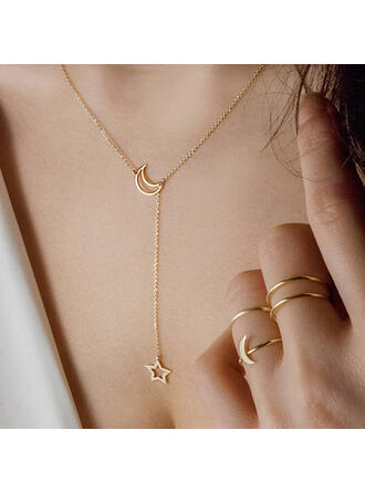 Unique Simple Alloy With Star Moon Necklaces (Set of 2)