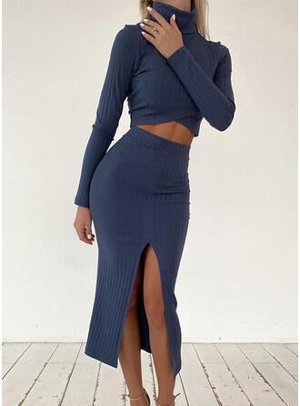Solid gündelik blouse & İki Parça Kıyafetler Set ()