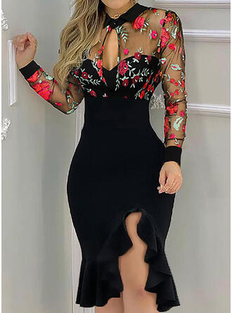 Embroidery/Floral Long Sleeves Sheath Knee Length Elegant Dresses