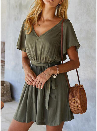 Solid Cotton V-Neck Short Sleeves Casual Romper