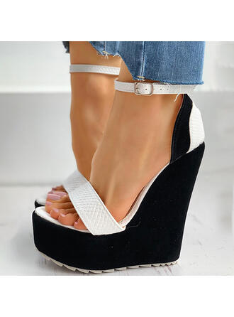 Mulheres PU Plataforma Sandálias Plataforma Calços Peep toe com Fivela sapatos