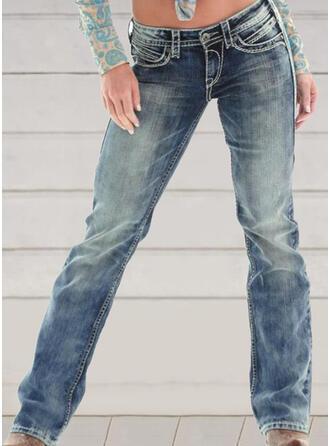Broderier shirred Plus størrelse Lang Elegant Skinny Denim & Jeans