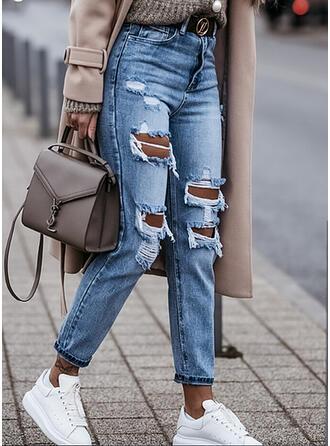 Solid kot Uzun gündelik Büyük beden Pocket Yırtık Kot pantolon