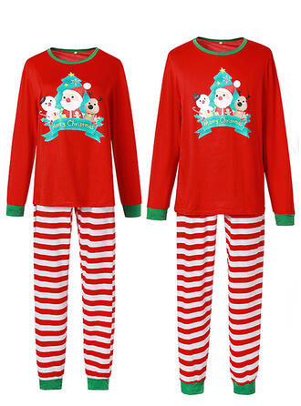 Santa Striped Cartoon Family Matching Christmas Pajamas
