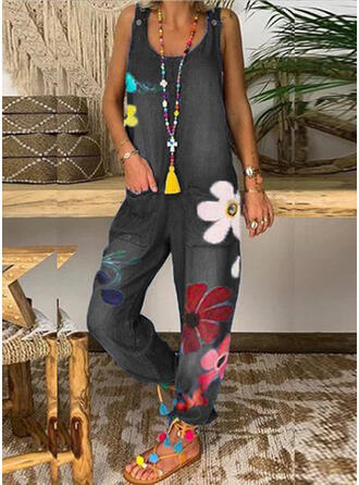 Floral Print Round Neck Sleeveless Casual Denim Jumpsuit