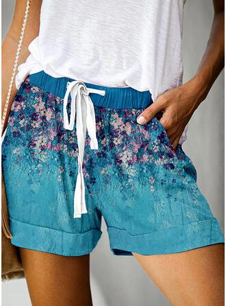 Tisk Nad kolenem Neformální Dovolená Plus velikost hlubokým výstřihem handsstring Kalhoty