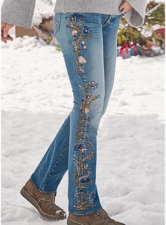 Embroidery Shirred Plus Size Elegant Sexy Denim & Jeans