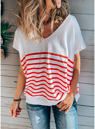 Striped V-Neck Short Sleeves T-shirts