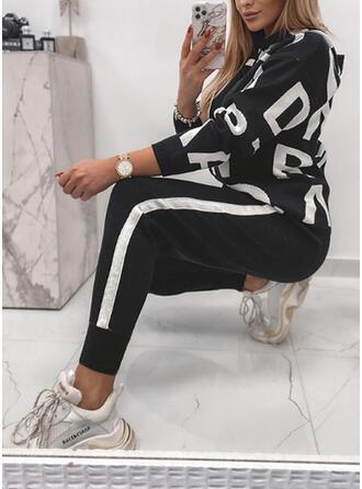 Brev Rand Print Sportig Fritids Extra stor storlek sweatshirts & Tvådelade kläder uppsättning